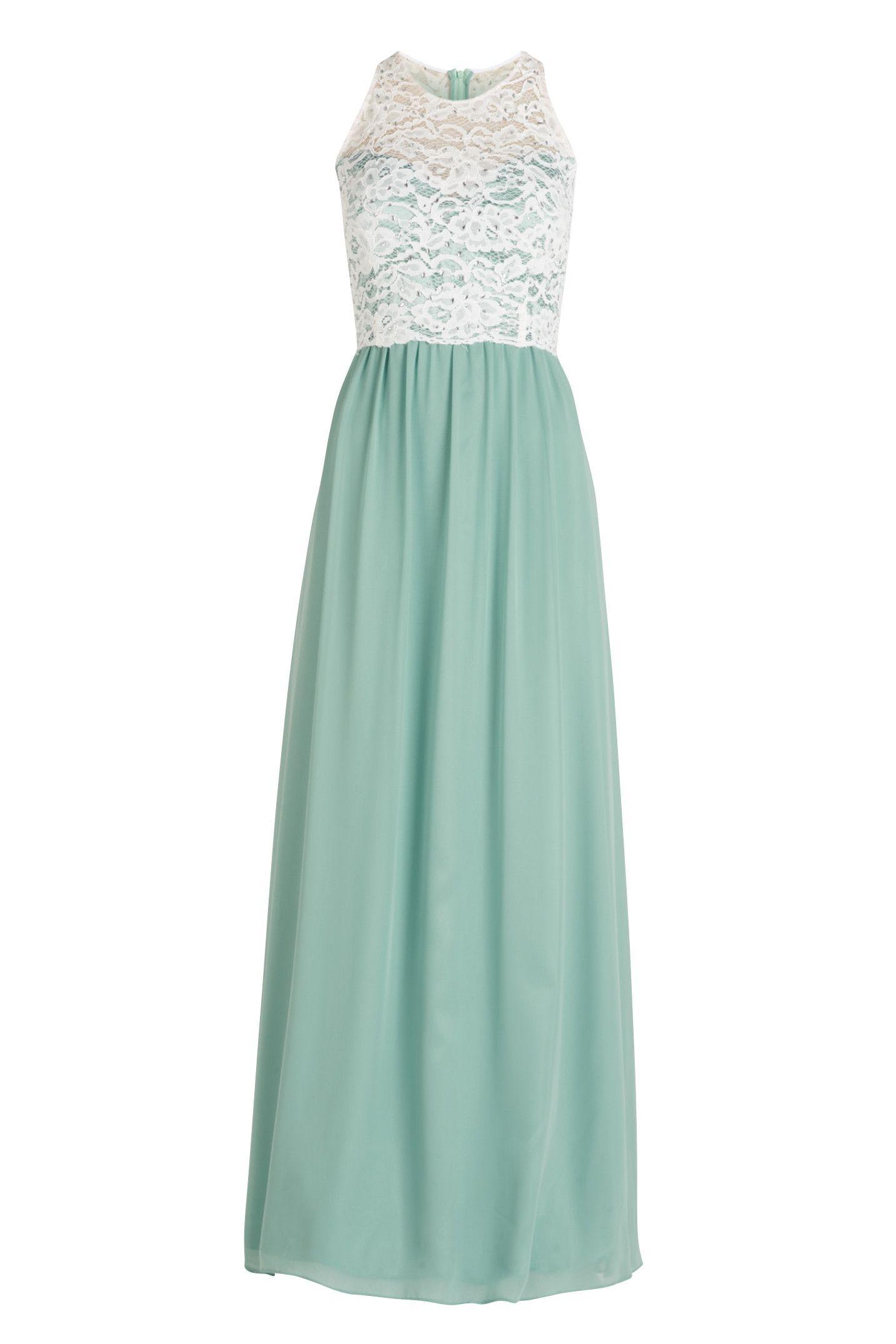 Mintgrünes Chiffonkleid mit Spitze in Ivory  Abendkleid, Kleider