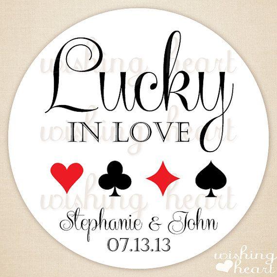 Thank You Favor Sticker Lucky In Love Vegas Wedding 1 5 Or 2
