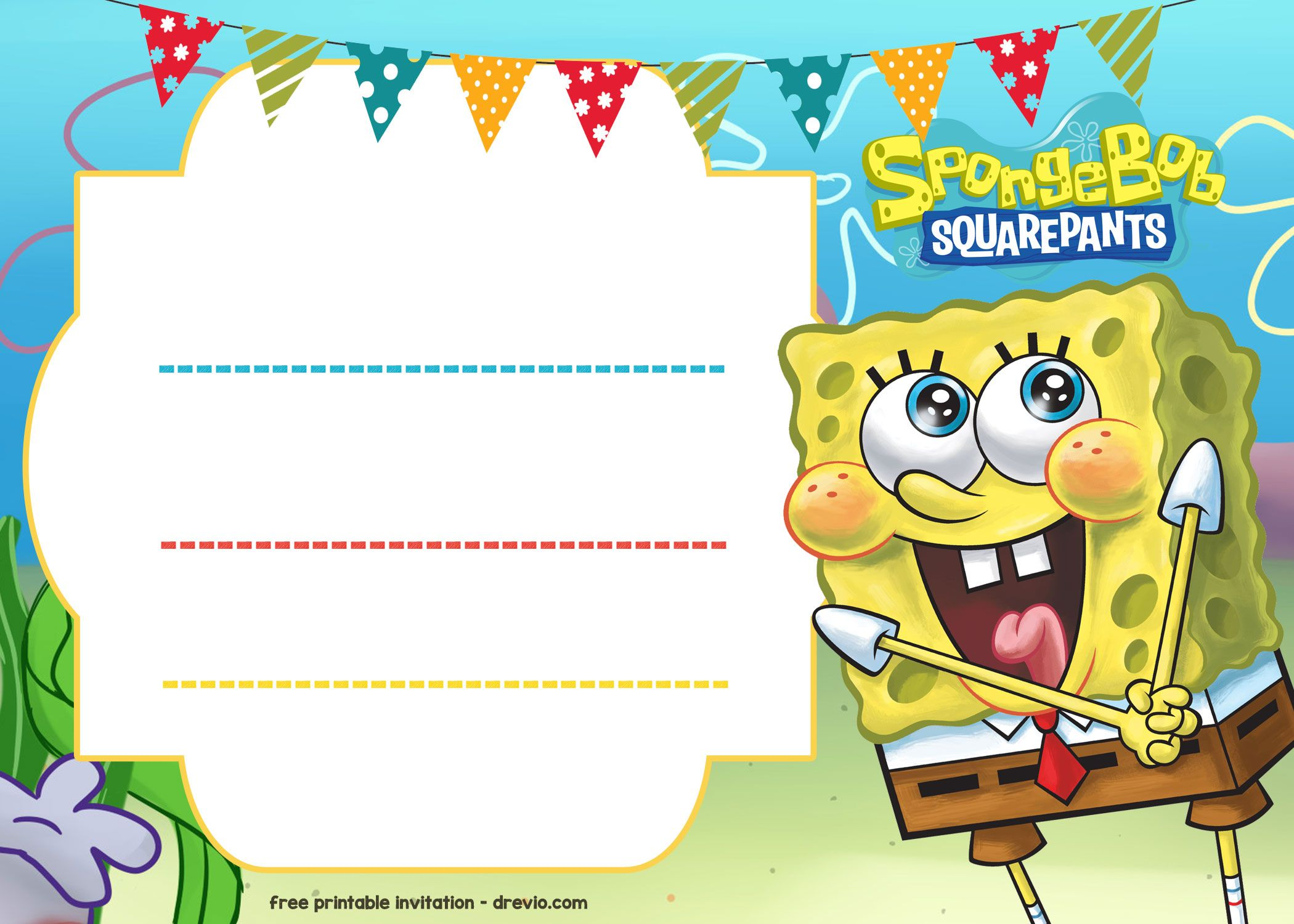 free spongebob birthday invitation template free printable
