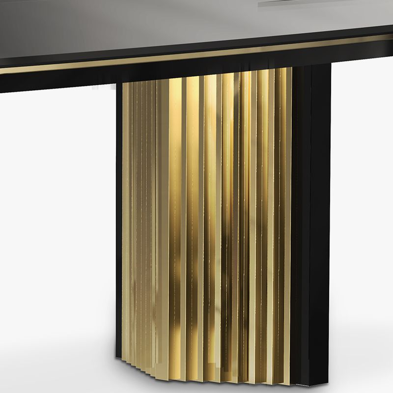 Beyond Is A Contemporary Dining Table That Combines Delicate Handcrafted Wood With Passionate Gold Plated Luxury Furniture Luxury Office Furniture Dining Table