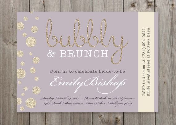 Bubbly brunch champagne bridal shower by for Wedding brunch invitations