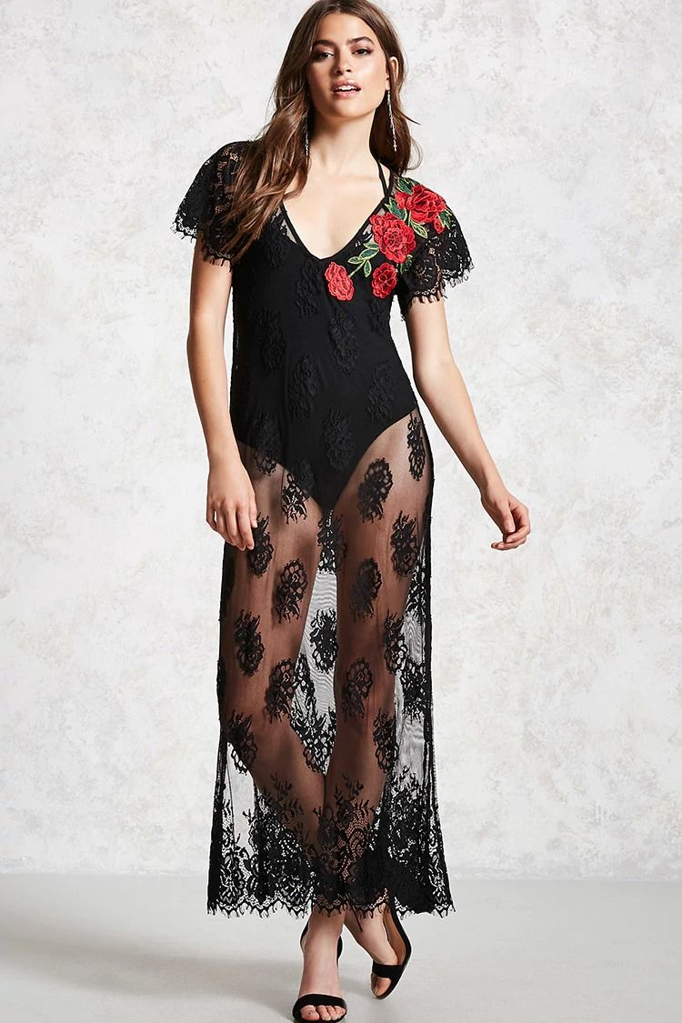 eb3234b169e Forever 21 Contemporary - A sheer floral lace maxi dress featuring a ...