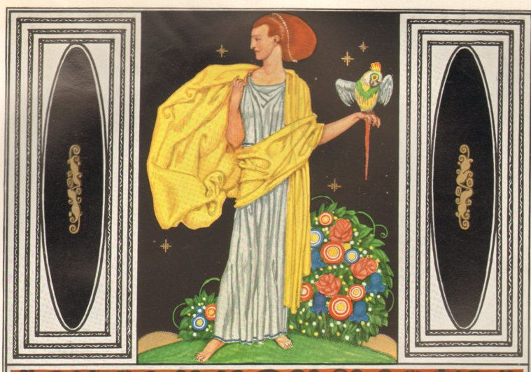 1914 Antique DECORATIVE ARTS Figural Fillings Art Nouveau Ornamental Lithograph by catladycollectibles on Etsy