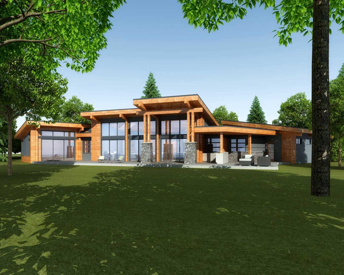 Rendering of the outdoor living space solace contemporary home design step one also rh pinterest