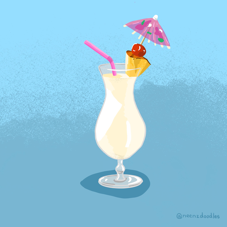 Pina Colada Illustration Beach Illustration Illustration Digital Illustration