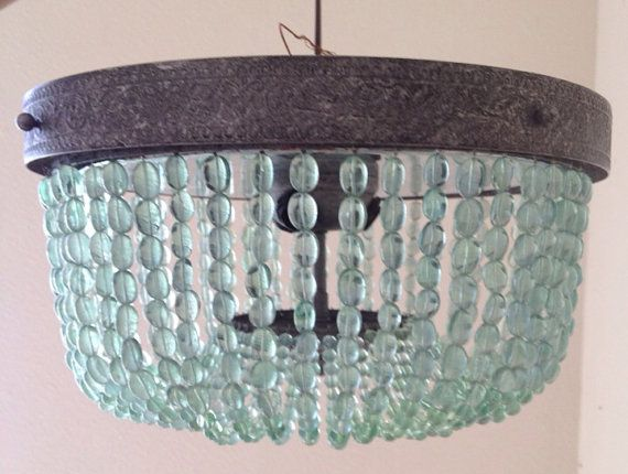 Lovely Aqua, Turquoise, Beaded Lighting Fixture, Chandelier