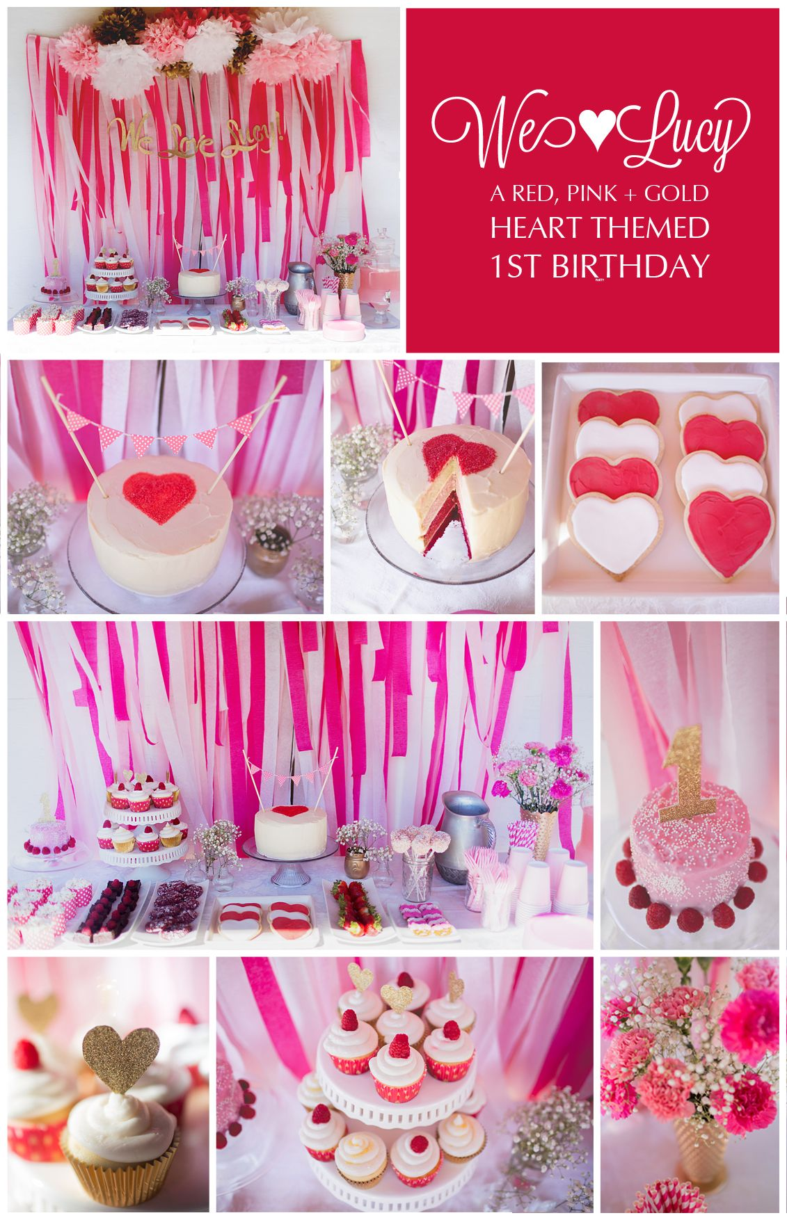 Red Pink Gold Heart Themed First Birthday Party Girl
