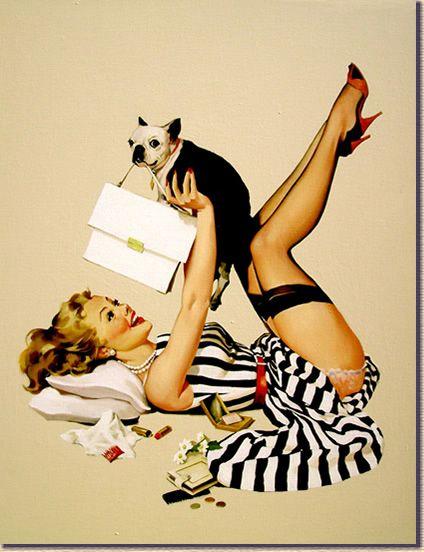 """Lucky Dog"" by Gil Elvgren."