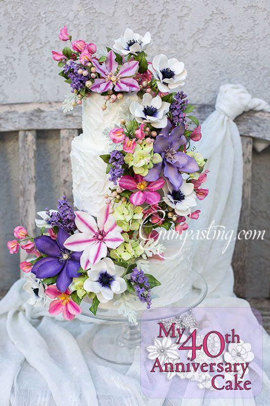 40th Anniversary Cake with Gumpaste Flowers Gumpastingcom