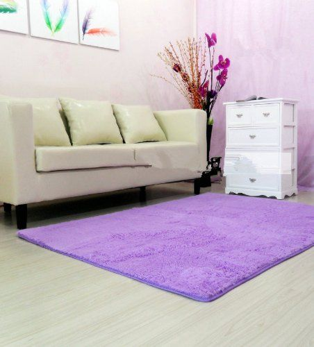 FADFAY Super Soft Modern Shag Area Rugs Purple Living Room Carpet Bedroom  Rug Washable Rugs Solid