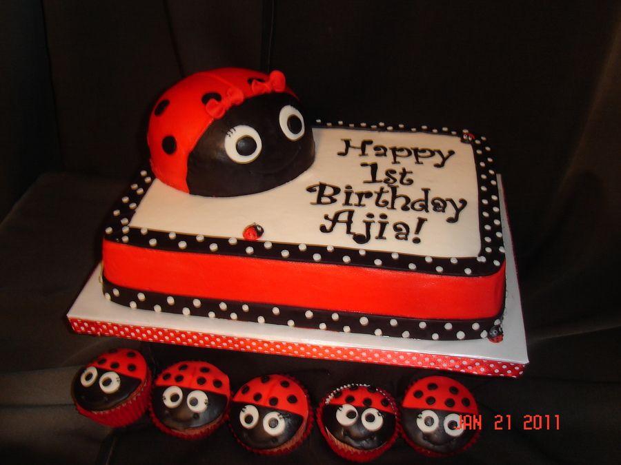 Astonishing Ladybug 1St Birthday Childrens Birthday Cakes Ladybug 1St Personalised Birthday Cards Cominlily Jamesorg