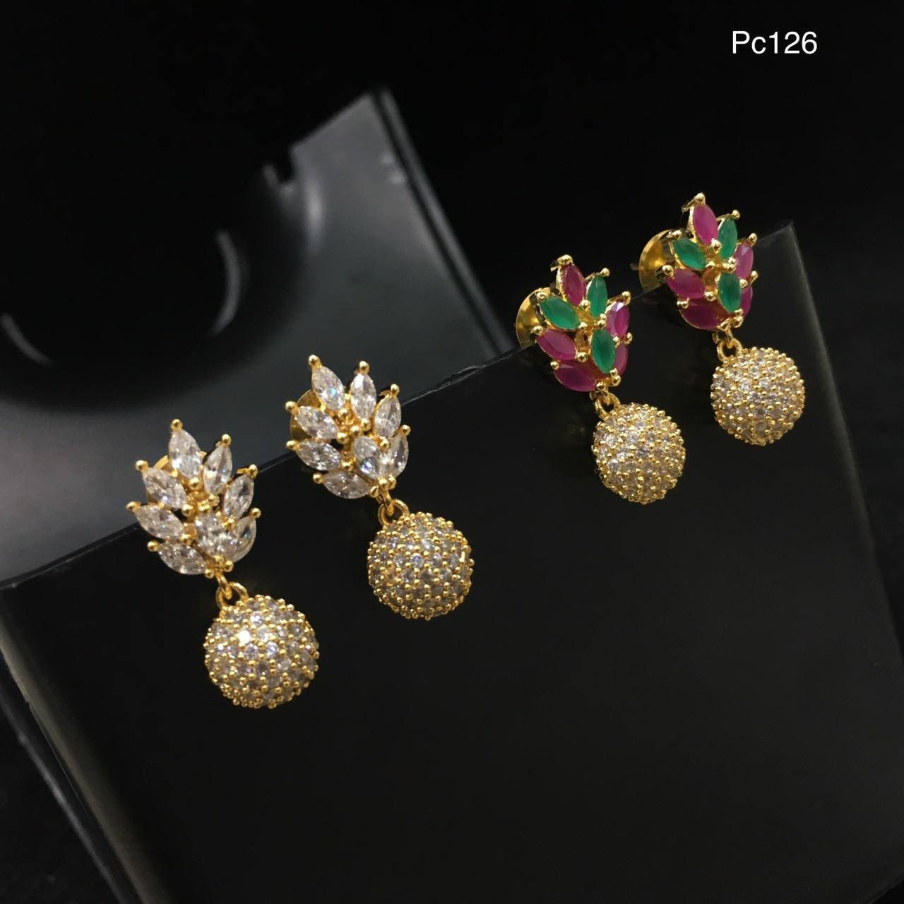 Beautiful Ear Studs With Leaf Design Studded White Green And Pink Color Stones Ball Hanging 20 September 2017