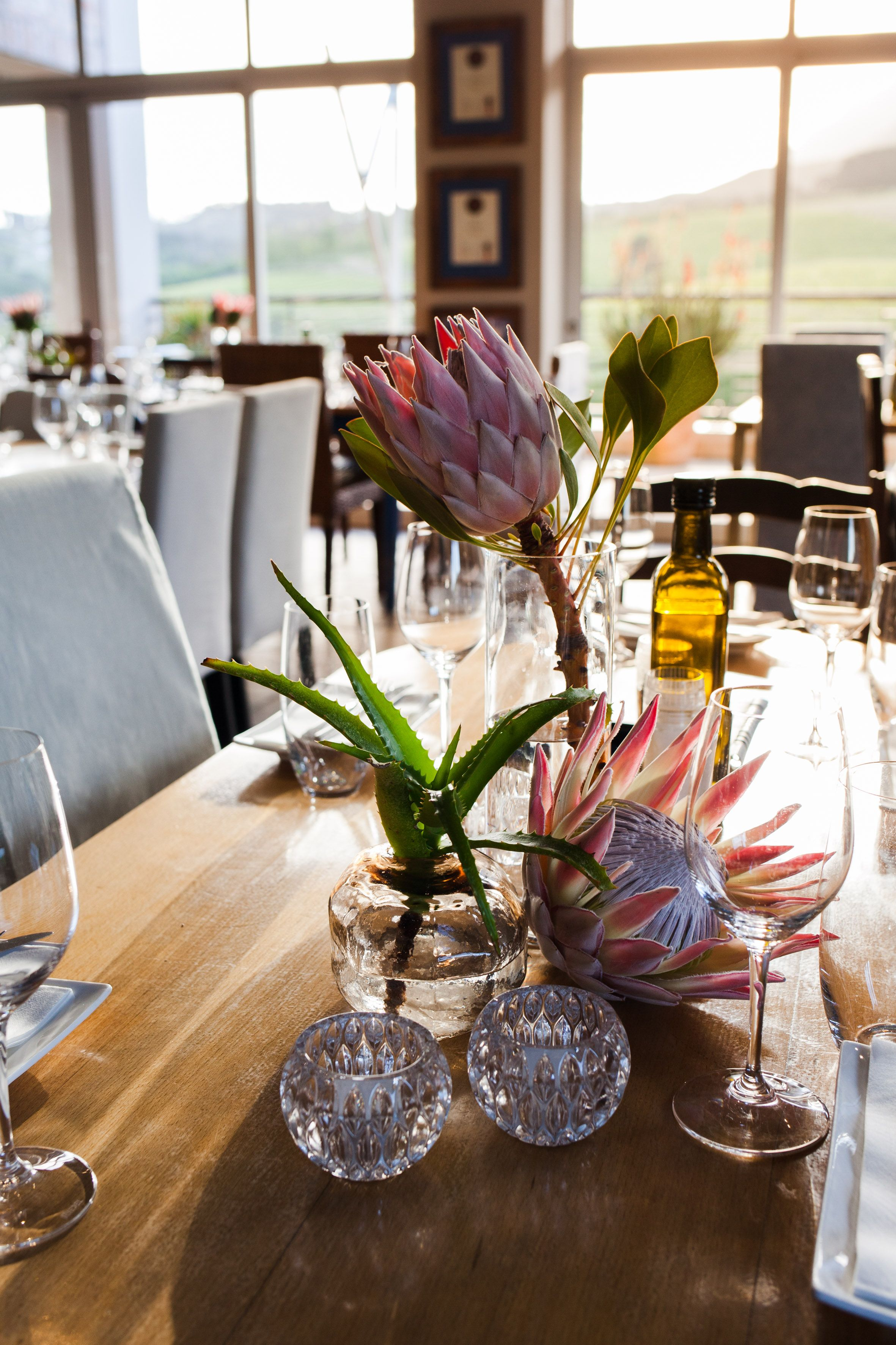 Sunset Dinner At Creation Wines Sorrento Events Protea Centerpiece Table Decorations Summer Decor