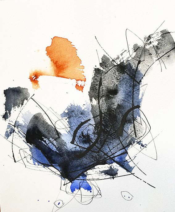 Abstract Calligraphy Abstract Watercolour 2016 Josee Prudhomme