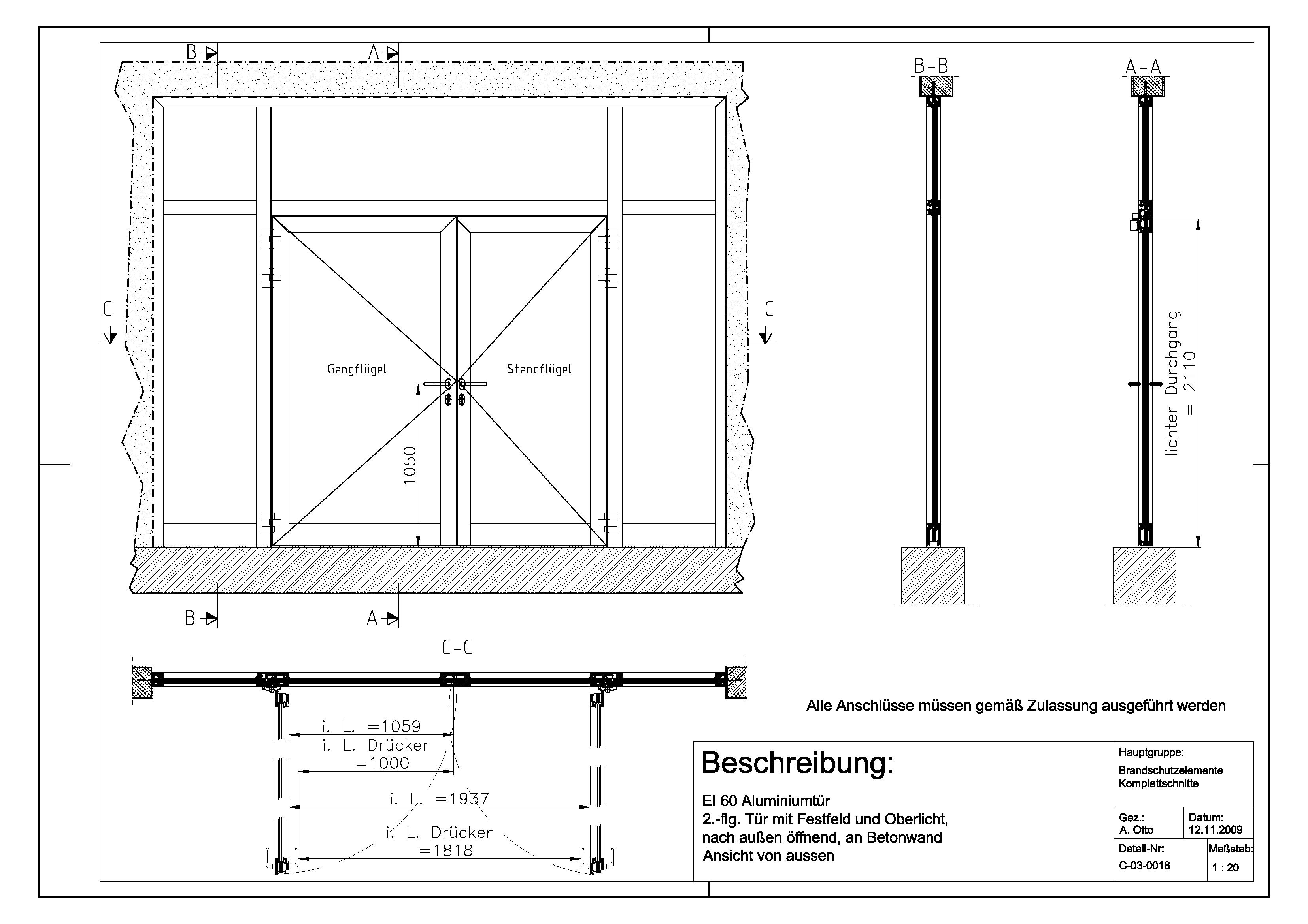 Eingangstür detail schnitt  C-03-0018 EI 60-Aluminiumtür, 2.-flg. Tür mit Festfeld und ...