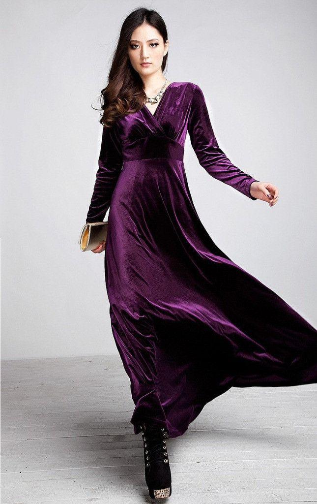 Women/'s Christmas Long Sleeve V Neck Velvet Formal Maxi Dress Plus Sizes