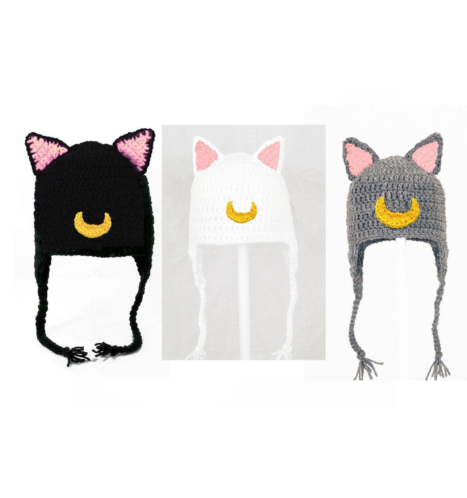 3b8708f4242 Sailor Moon Cat Earflap Hat Luna Artemis Diana Crochet Beanie