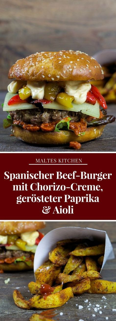 Spanischer Beef-Burger mit Chorizo-Creme, gerösteter Paprika & Aioli