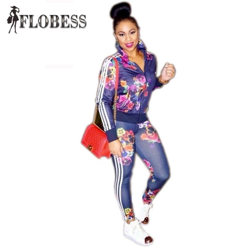 Remiendo de la Impresión Floral Rayado Sportsuit Chándales Slim Fit Chaqueta 2017 Mujeres del Otoño Apretado de Cintura Alta Pantalones Lápiz 2 Unidades Set