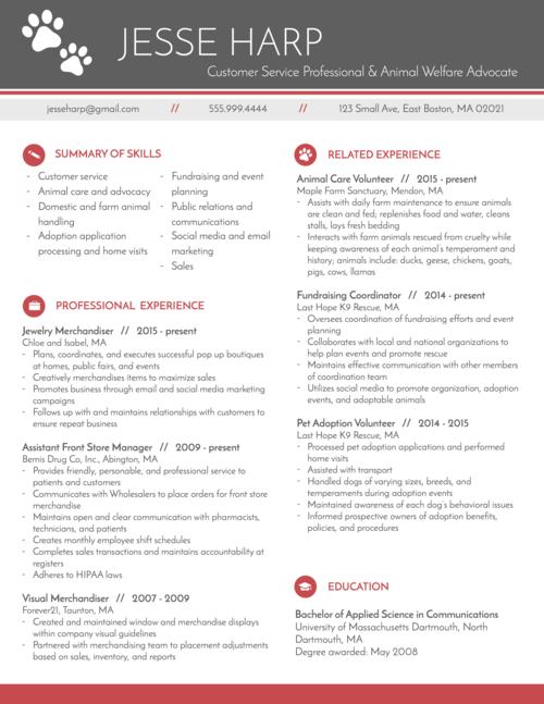 modern resume for animal advocate | graphic design | Pinterest