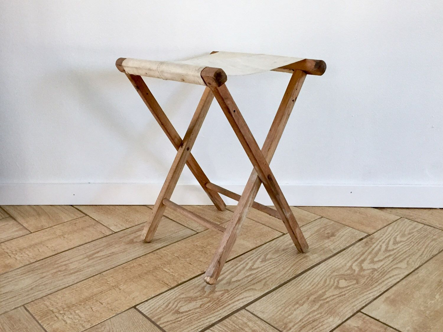 Off White Canvas Camp Stool / White Folding Camper Stool w Wood ...