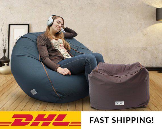 Enjoyable Adult Bean Bag Cover Large Lounge Chair Large Pouf Adult Machost Co Dining Chair Design Ideas Machostcouk
