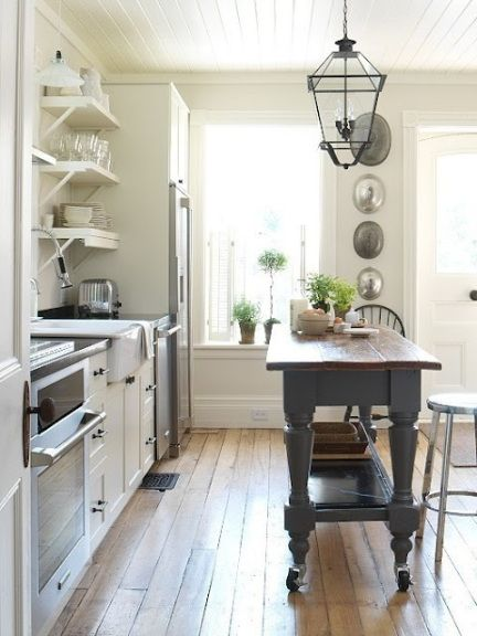 white country kitchen with butcher block. Country Kitchen: White \u0026 Gray Modern Farmhouse Design With Creamy Kitchen Cabinets, Open Shelves, Sink, Charcoal Island Butcher Block