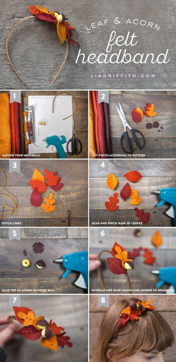 DIY Felt Leaf and Acorn Fall Headband Tutorial from MichaelsMakers Lia Griffith #babyheadbandtutorial