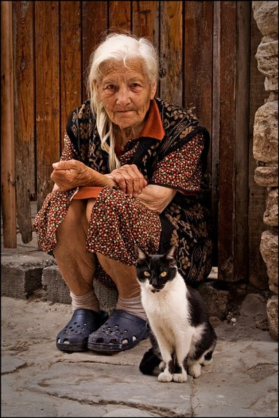 Old lady and her cat