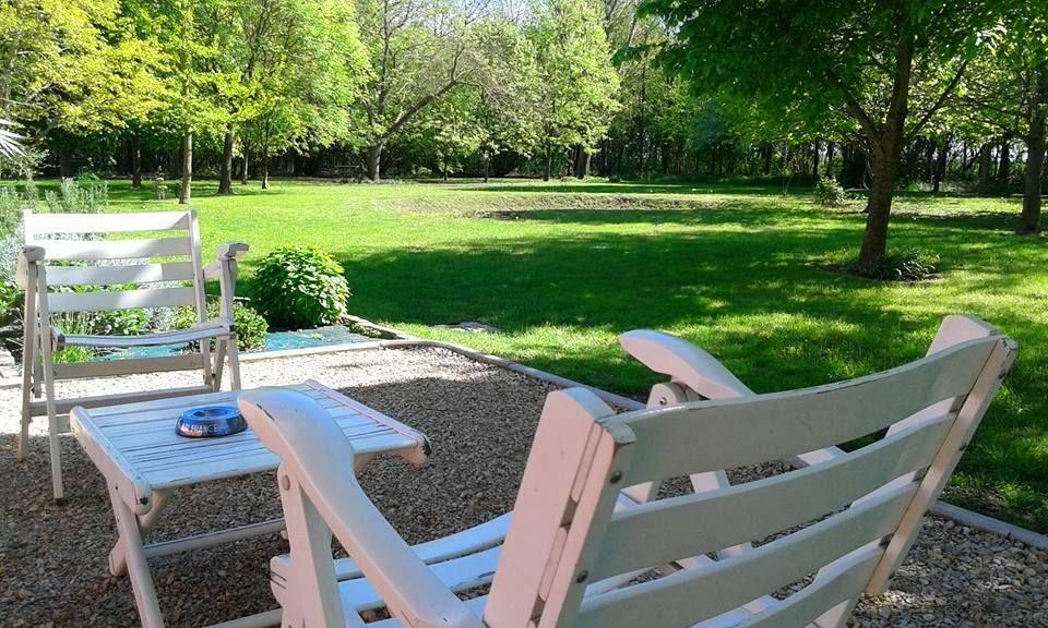 Rimanere a oziare nel parco, con un libro o un buon bicchiere di vino, senza sentire alcun rumore...è impagabile! Per gli amanti del design, anche gli arredi degli esterni sono originali d'epoca: qui le sedie Foppa Pedretti anni '50.
