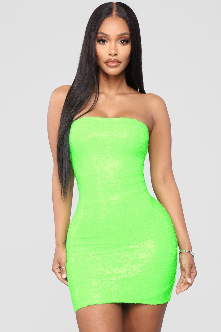 Mad About You Sequin Dress Lime Green Green Mini Dress Lime Green Dress Sequin Dress