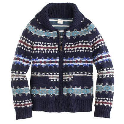 Boys' jersey-lined Fair Isle zip cardigan
