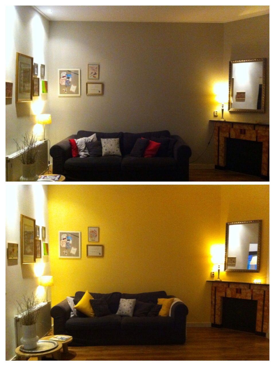 Gele muur in woonkamer | Ideeën voor het huis | Pinterest - Muur ...