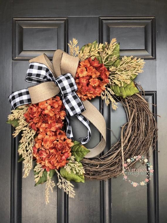 Fall Hydrangea Wreath, Hydrangea Wreath, Fall Wreath, Front Door Wreath, Everyday Wreath, Orange Hydrangea Wreath, Buffalo Check #fallwreaths