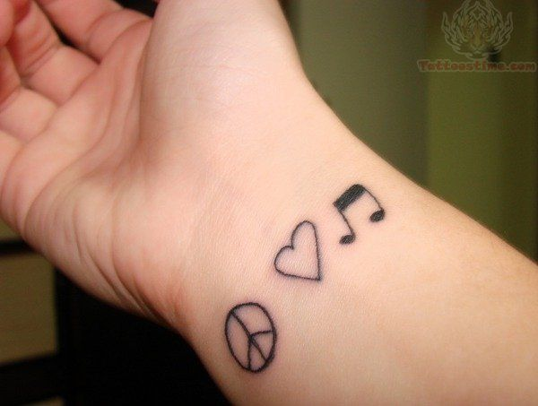 Love Music Peace Tattoo On Hand For Men Cute Love Quotes For Her