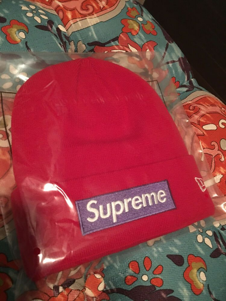Supreme F//W 2017 New Era Box Logo Beanie Red