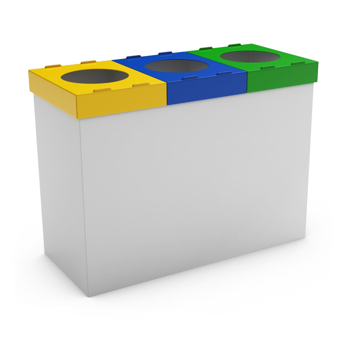 Mondo 3f White Waste Bin For Selective Sorting At Home 3 Compartments Sorting Recycling Bins Waste