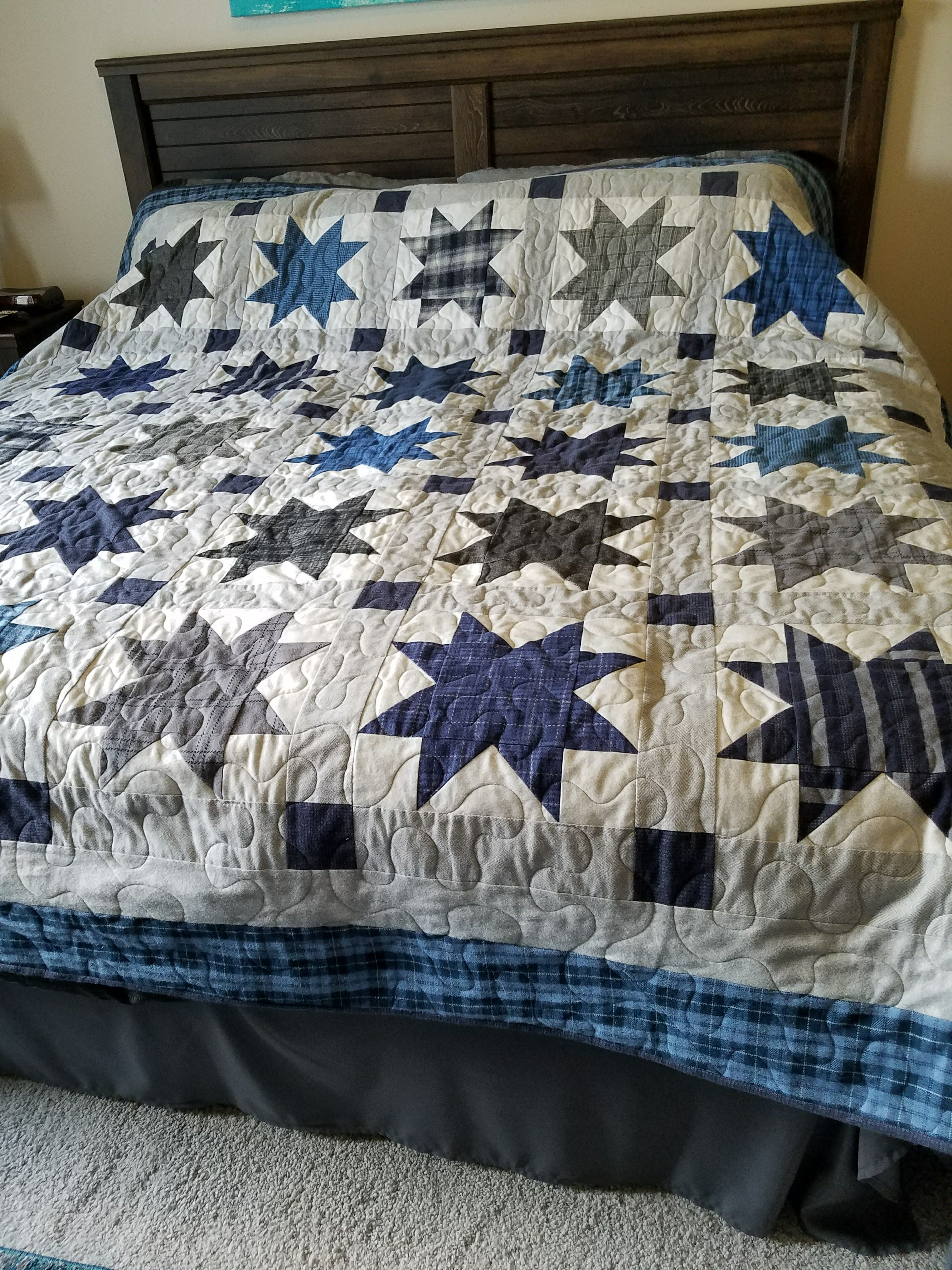 This is a king size flannel stars quilt. A great quilt for