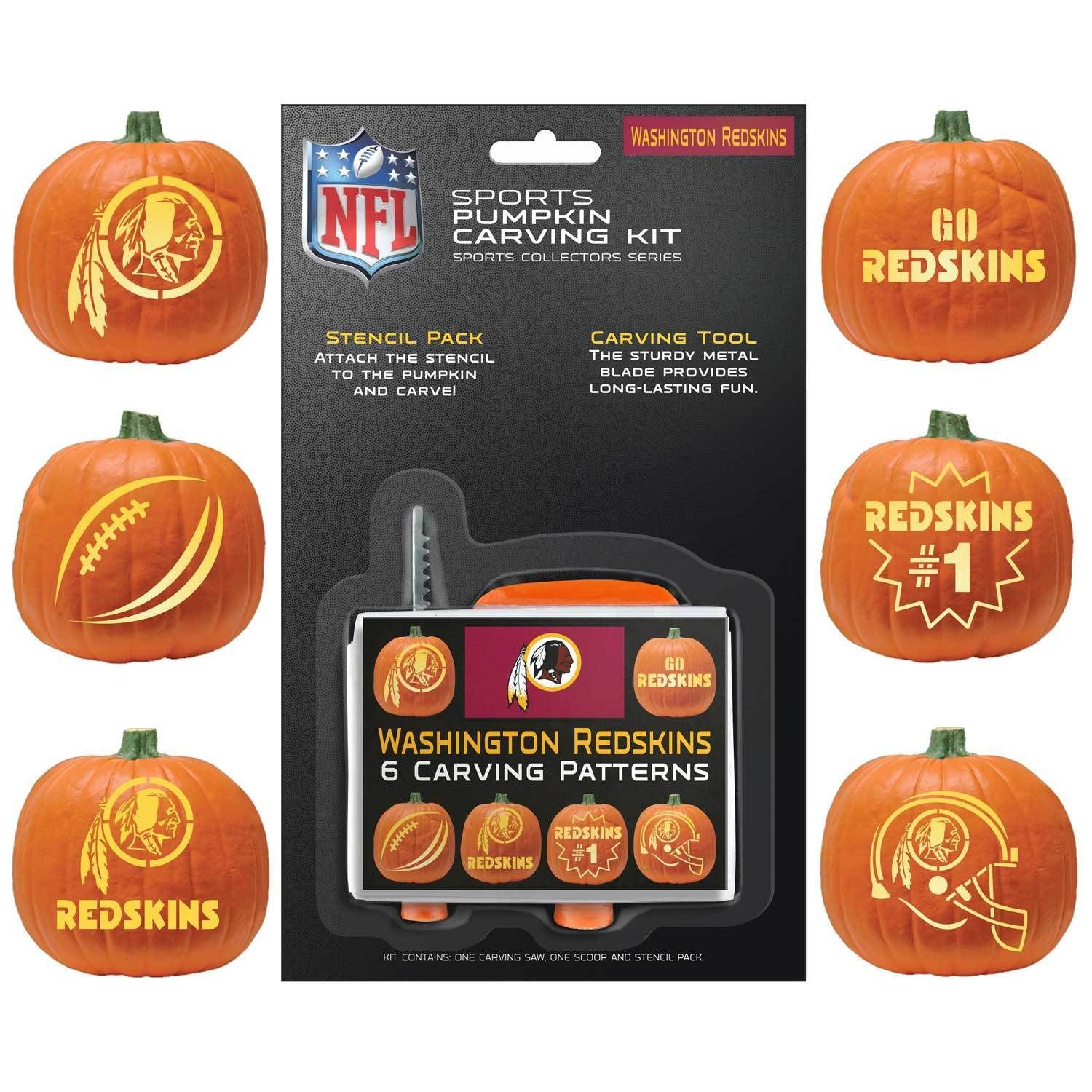 Washington Redskins Halloween Pumpkin Carving Kit NEW!Stencils for ...