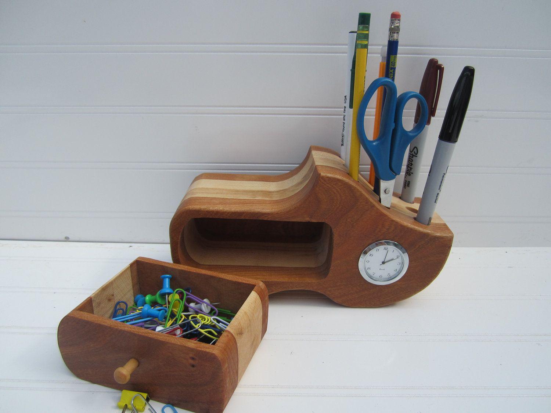 Wooden Shoe Pencil Holder Desk Organizer Desk Clock