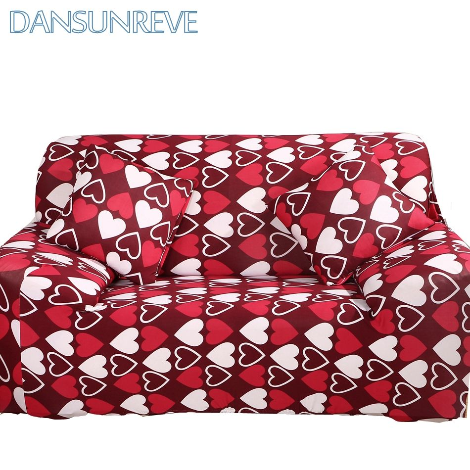 Universal Stretch Sofa Covers With Red Heart Pattern Polyester Couch ...