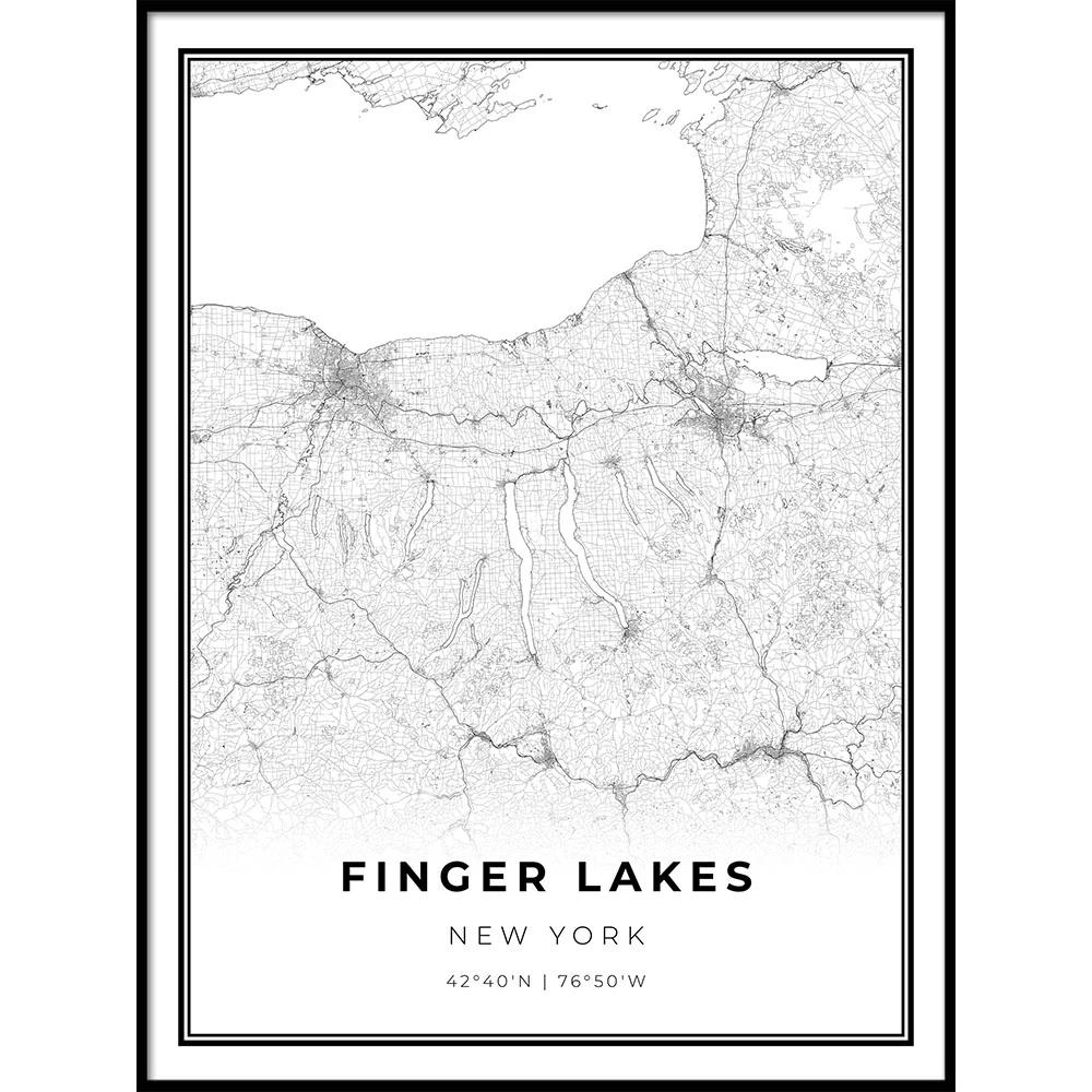 Finger Lakes Map Poster Lake Map Map Poster Map Wall Art