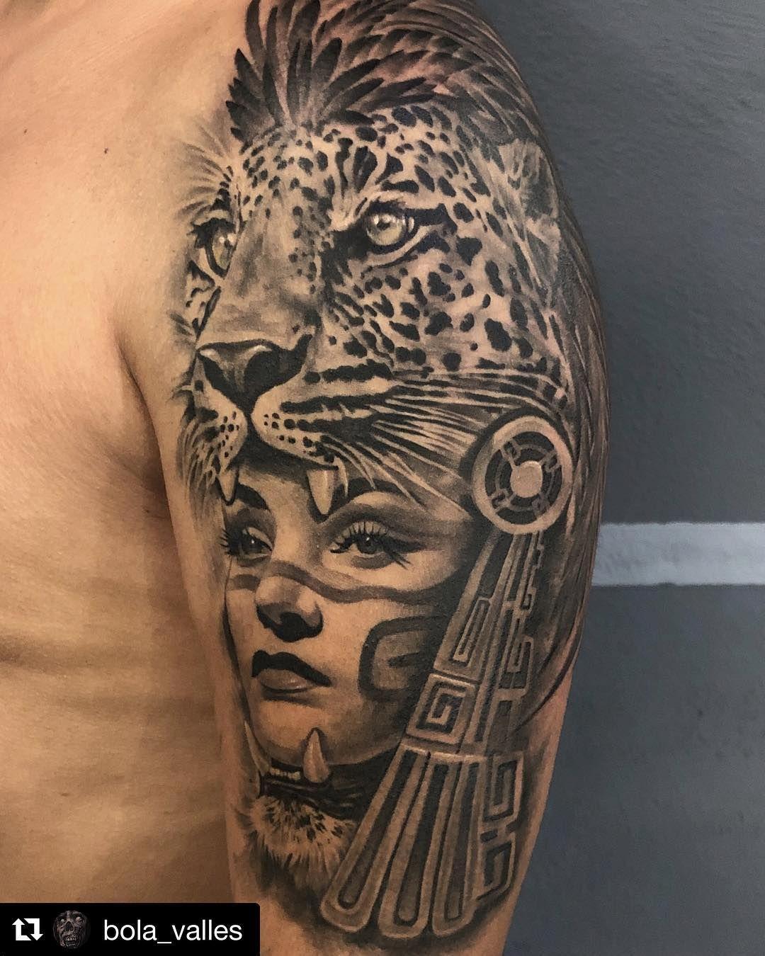 Mulpix Repost Bola Valles Aztec Jaguar Tattoo Healed Fresh Prehispani Aztec Tattoos Sleeve Aztec Warrior Tattoo Aztec Tattoo Designs