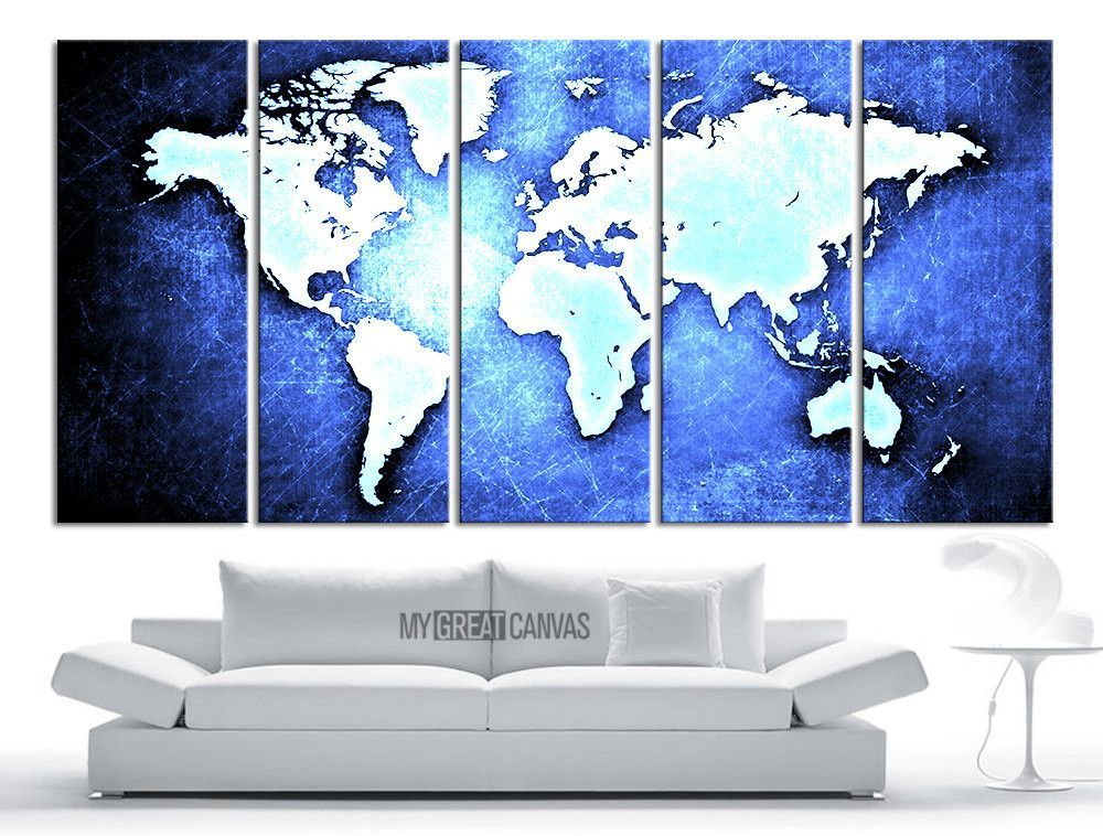 Large wall art canvas world map on metal iron background print large wall art canvas world map on metal iron background print world map 5 piece gumiabroncs Images