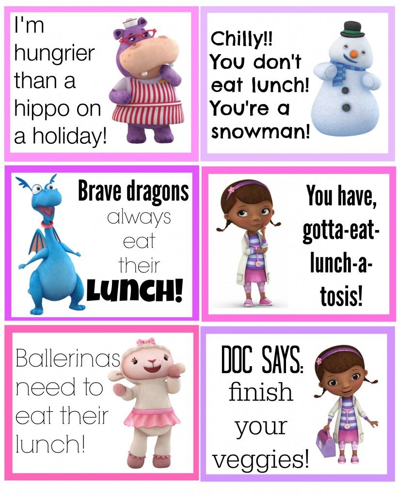 photograph about Free Doc Mcstuffins Printable titled No cost Document McStuffins Printable Back again toward Higher education Lunch Box Notes