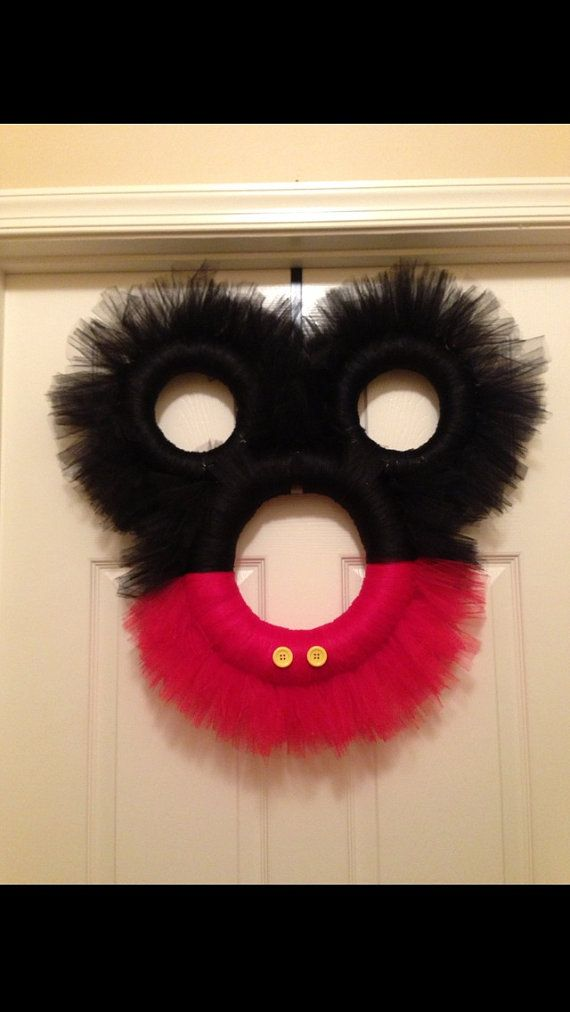 Mickey Mouse tulle wreath by TreasuresMadeByTracy on Etsy, $75.00