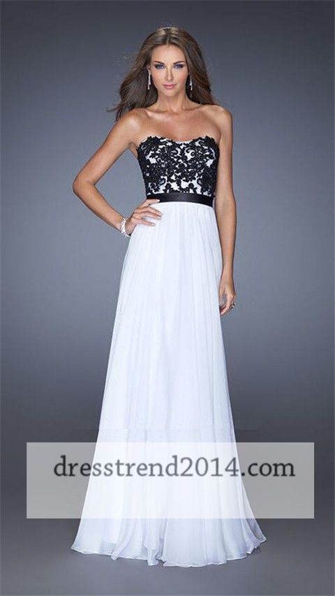 Black White Lace Beaded Cheap Long Prom Dresses 2014 | prom ...