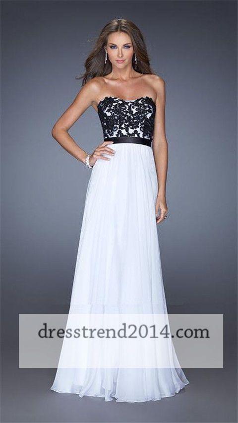 Black White Lace Beaded Cheap Long Prom Dresses 2014 | Dresses ...