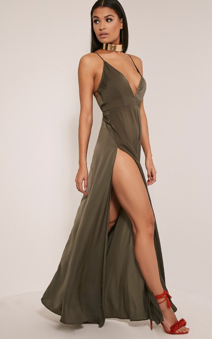 a577a9604e Beccie Khaki Extreme Split Strappy Back Maxi Dress Image 6