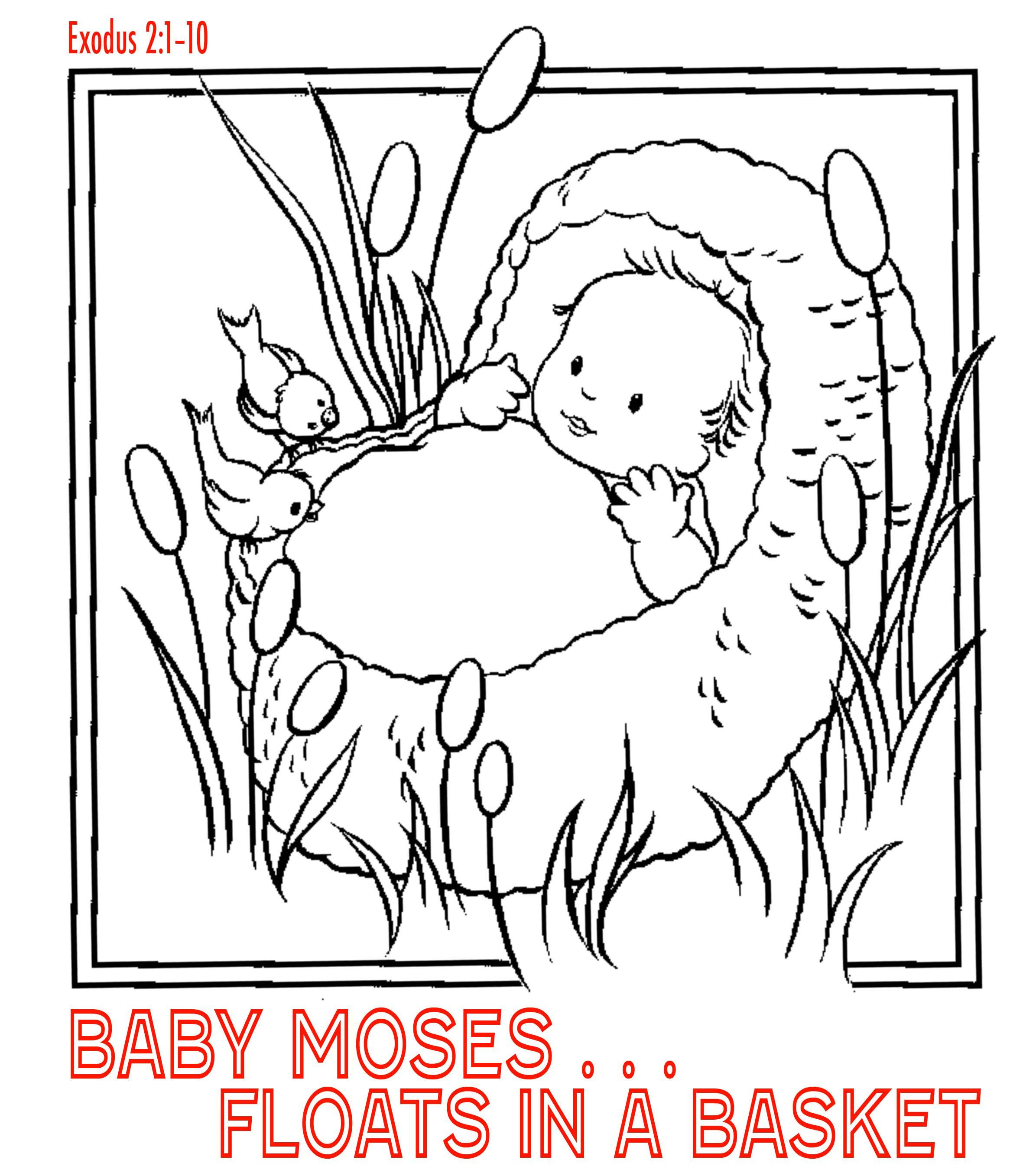 coloring page of baby Moses afloat in a basket princess found him ...